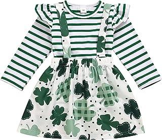"""Eternali St. Patrick""""s Day Baby Mädchen Riemen Rock 2 Stück Kleinkind Kinder Mädchen Streifen Kurzarm Crewneck T-Shirt Tops  Mini Rock Fest Partei Vierblättriges Kleider Outfit Set"""