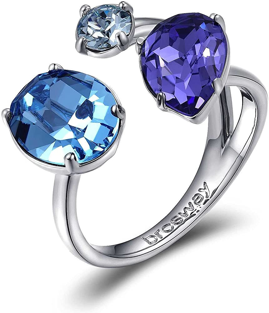 Brosway affinity anello per donna in bronzo con  swarovski tanzanite, aquamarina e light blue BFF31