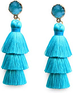 Me&Hz Colorful Layered Tassel Earrings Bohemian Tiered Tassel Druzy Stud Dangle Drop Earrings for Women Teen Girls Birthday Christmas Friends Gift
