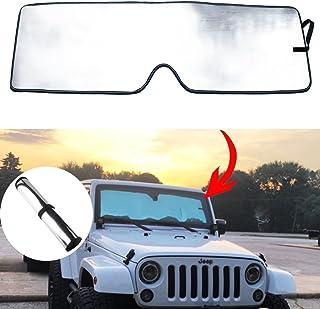 MOEBULB Front Windshield Sunshade Sun Visor Shade Mat for 2007-2018 Jeep Wrangler JK