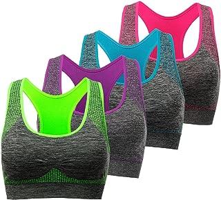 TOBWIZU Racerback Sports Bra - Choose Color & Size - Padded Seamless for Women Pocket Yoga Workout Gym Bras