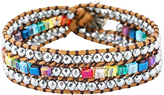 Plumiss Boho Handmade Natural Stone Bead 3 Row Wide Wrap Wrist Statment Bracelet Jewelry Collection