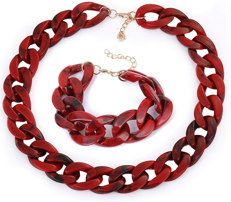 2 Pcs Punk Jewelry Exaggerated Acrylic Jelly Twist Big Statement Necklace & Bracelet Jewelry Set, Big Bib Chunky Chain Link Necklace and Bracelet for Women Girls