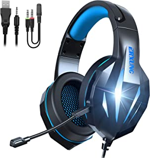 Gaming Headset with Mic for Xbox One PS4 PC Switch Tablet Smartphone, Headphones Stereo Over Ear Bass 3.5mm Microphone Noi...