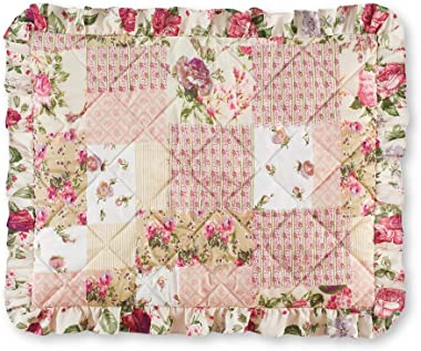 Collections Etc Light Pink Rose Garden Quilt-Style Ruffled Pillow Sham - Seasonal Décor for Bedroom, Taupe, Sham