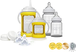 Cherub Baby Glass Bottle Starter Kit, Yellow