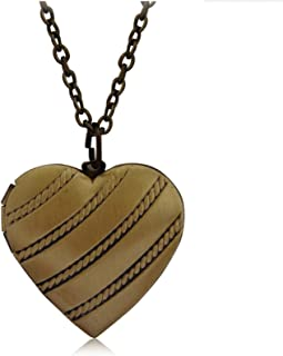 Adisaer Gold Plated Locket Necklace for Womens Antique Locket Necklace Heart Pendant Memorial Jewelry