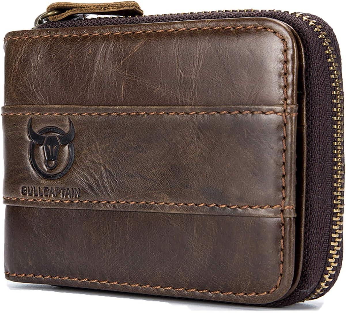 Selighting Genuine Leather Zipper Wallets for Men RFID Blocking Vintage Bifold Wallets Credit Card Holder Cases (One Size, Dark Brown)
