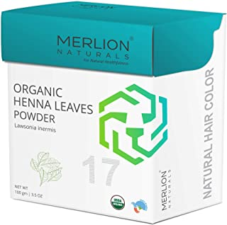 Merlion Naturals Pure Henna Powder, Lawsonia Inermis, USDA NOP Certified 100% Organic, Natural Hair Color - 3.5 OZ (100g)