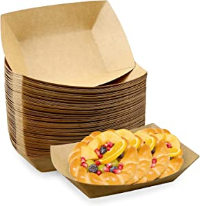 Oomcu 100 Pack 3 lb Heavy Duty Disposable Kraft Brown Paper Food Trays,Recyclable Eco-Friendly Take Out Food Serving Boats Baskets Trays for Party Snacks French Fries Nachos Hot Dogs Tacos BBQ
