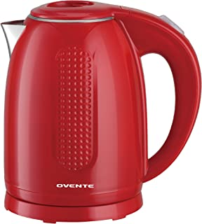 Ovente BPA-Free Cordless Electric Kettle with Auto Shut-Off, Double-Walled Stainless Steel, 1100W, 1.7L, Red (KD64R)