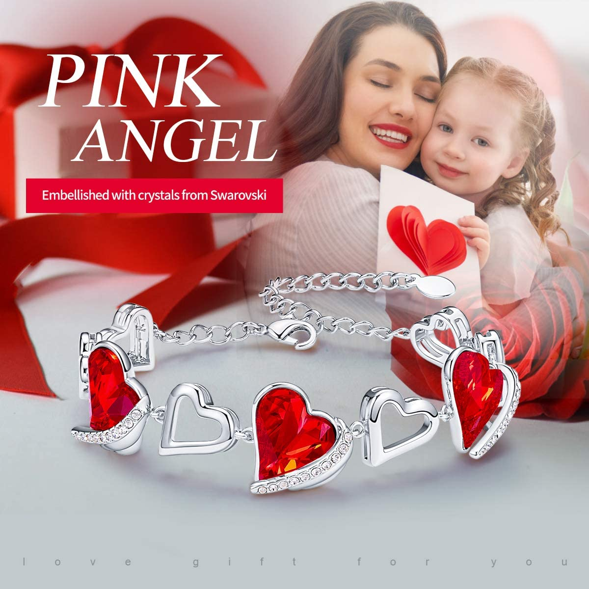 CDE Love Heart Bracelets for Womens 18K White/Rose Gold Plated Bracelets Embellished with Crystals Jewellery Birthday Gifts for Her/Ladies/Mum Red, 18ct White Gold