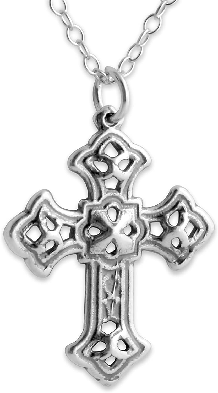 Azaggi Sterling Silver Handcrafted Budded Apostles Cross Necklace