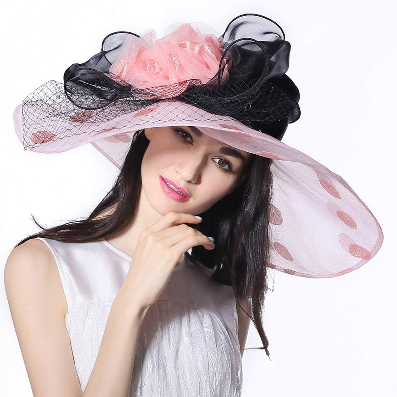Sun Visor Lady, Summer Oversized Sun Hat, Flower Big Hat, Wide Edge for Kentucky Fascinator Ascot Black Tea Party Wedding Hat, Beach Hat, Pink
