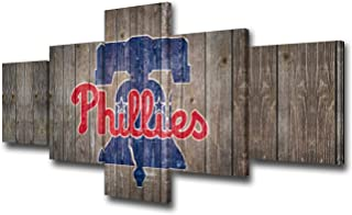 TUMOVO Canvas Wall Art Philadelphia Phillies Logo Picture America Baseball Sports Painting 5 Piece Artwork Home Decor for Living Room Framed Gallery-Wrapped Stretched Ready to Hang(50Wx24H inches)