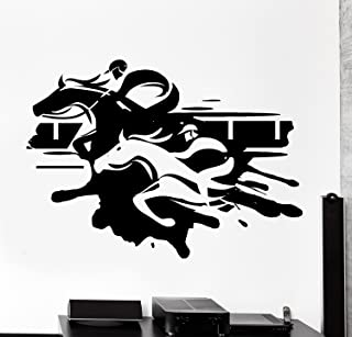 A Top Decals Large Wall Vinyl Decal Jockey Steeplechase Horse Racing Home Interior Decor z4117