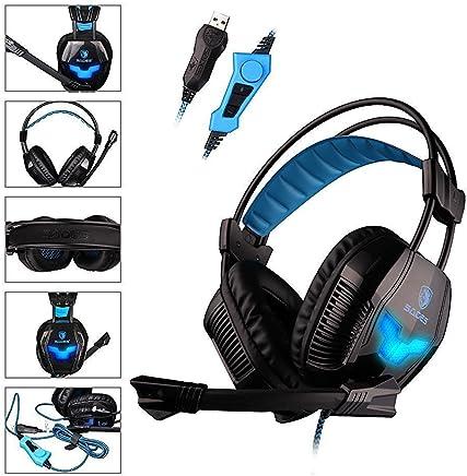 SADES A30S - Cuffie Surround USB da PC Gaming Headset, Microfono Hifi, Vibrazione ai Bassi, Controller per Volume, Luce a LED Blue (Nera) - Trova i prezzi più bassi