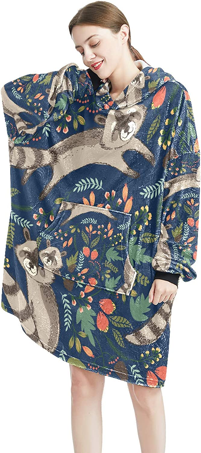 Product Special sale item Cozy Oversized Maternity Hoodie Blanket Print Pullo Raccoon Cute