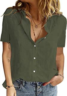 CILKOO Womens Long Sleeve V Neck Blouse Roll-up Sleeve Button Down Shirts Tops