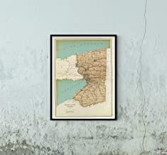 Map|State Atlas, Niagara and Erie Counties. 1895|Historic Antique Vintage Reprint|Size: 18x24|Ready to Frame