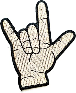 I Love You Hand Sticker Costume Embroidered Badge Iron On Sew On Patch Hamsa Hand Evil Eye Hand Ghost Halloween Punk Rock and Roll Heavy Metal Music Symbol Sign Language Patch (26)