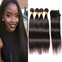 9A Long straight hair 4 bundles with closure 22 24 26 28 +20 inch 4x4 lace closure Free Part Pre Plucked With Baby Hair Unprocessed Brazilian Virgin Human Hair Weave Extension Natural Color