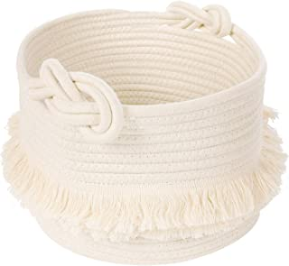 (Small, off-white) - Small Woven Storage Baskets Cotton Rope Decorative Hamper for Nappy, Blankets, Magazine and Keys, Cut...