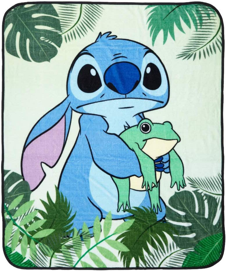 Disney Sales for sale Lilo Stitch Frog Leaves One Throw Blanket San Diego Mall MULTI Size