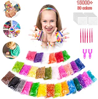VENSEEN Rainbow Rubber Bands Bracelet Refill Kit, 15000 Loom Bands in 30 Colors with 600 Clips, 6 Hooks, 2 Y Loom
