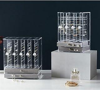 GGJIN Jewelry Storage Earrings Storage Box Jewelry Storage Jewelry Storage (Color : 4 doors- black)
