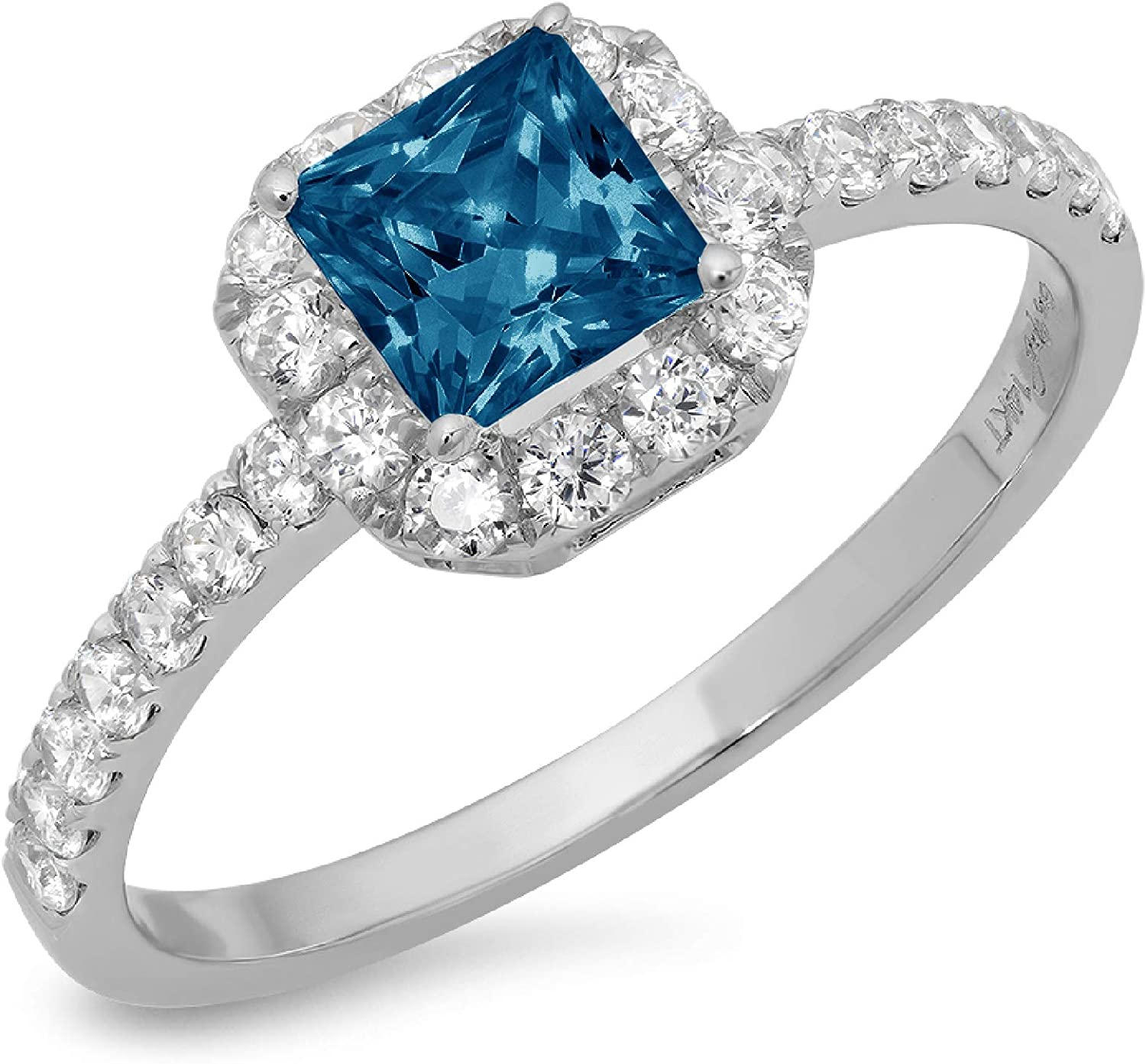1.37ct Brilliant Princess Cut Solitaire with accent Natural London Blue Topaz Gem Stone VVS1 Designer Modern Statement Ring Real Solid 14k White Gold Clara Pucci