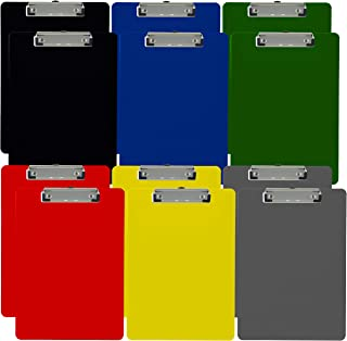 Trade Quest Plastic Clipboard Opaque Color Letter Size Low Profile Clip (Pack of 12) (Assorted)