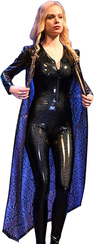 HYF Women's Semitransparent PU Cool Long Windbreaker Nightclub Clothing Coat
