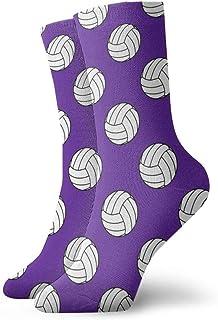 紫色のファッショナブルなカラフルなファンキー柄のコットンドレスソックス11.8インチの上の1つの白黒バレーボール