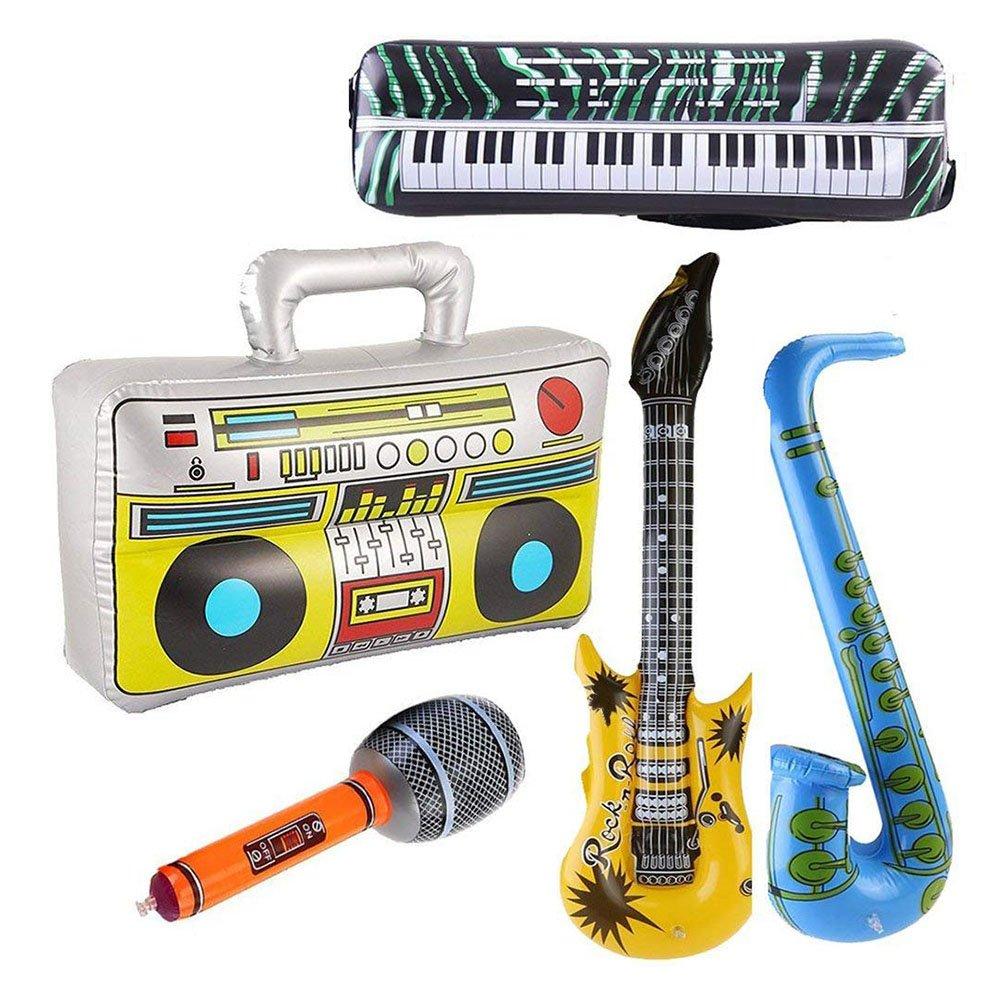 Toyvian Juguetes Inflable Estrella de Rock - Guitarra, Micrófono, Saxofón, Teclado Piano, Altavoz: Amazon.es: Juguetes y juegos