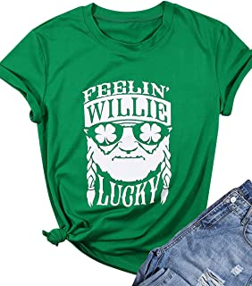 Feelin' Willie Lucky Shirt Women ST. Patrick's Day T-Shirt Short Sleeve Tops