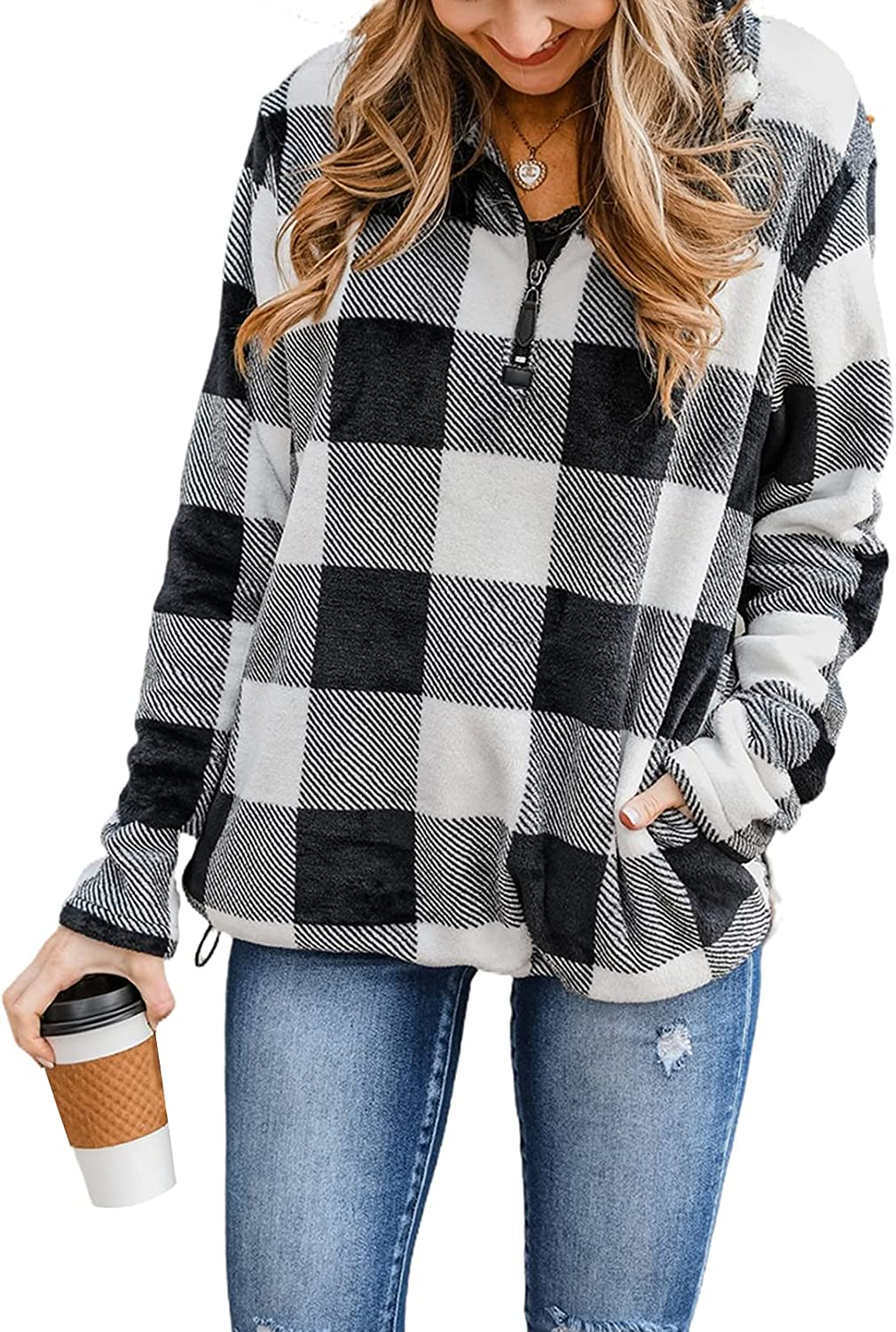 Astylish Womens 1/4 Zip Sweatshirts Casual Loose Long Sleeve Plaid Sweater Pullover with Pockets