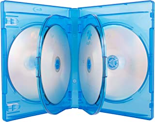 AcePlus Blu-ray Multi-6 Replacement Cases for 6 Discs in 22mm Extra Thickness with Clear Wrap Around Sleeve and Silver Scr...