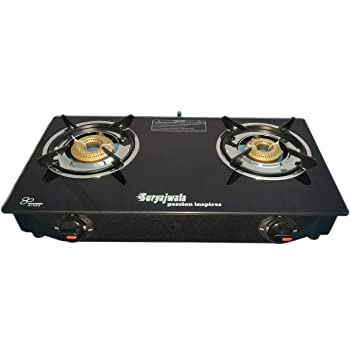suryajwala Steel Toughened Glass Top 2 Burner Manual Gas Stove, Black