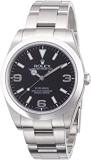 Rolex Explorer Black Dial Stainless Steel Rolex Oyster Automatic Mens Watch 214270