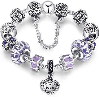 Love Beads Charms Bracelet for Girls and Women Murano Glass Beads Rose Flower Charms Amethyst Bracelets - 18CM