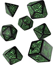 Q WORKSHOP Call Of Cthulhu black & green RPG Ornamented Dice Set 7 Polyhedral Pieces