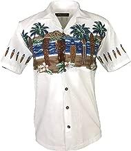 Favant Tropical Luau Beach Tiki Print Men's Hawaiian Aloha Shirt