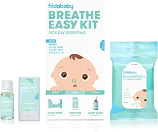 Baby & Toddler Breathe Easy Kit Sick Day Essentials By FridaBaby- A Must-Have Set Includes Natural Nose & Chest Wipes, Organic No-Mess Chest Balm, Organic Essential Oil for Bath or Diffuser