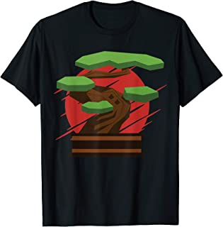 Bonsai Yin Yang Tree Japanese Buddhist Zen Retro Sunset Gift Camiseta