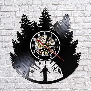 GYJCD Herramientas De Jardín Estilo De Casa De Campo Vintage Vinyl Record Reloj De Pared Jardinería Vinyl Record Reloj Agr...