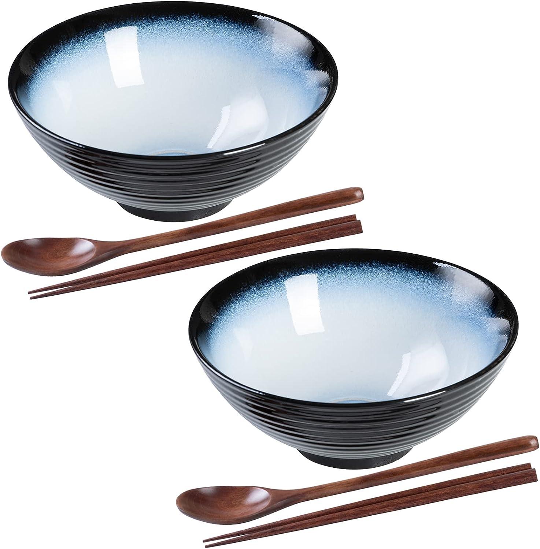 HOKELER Ceramic Japanese Ramen Bowl Set Ounce shop 40 2 outlet inch 8 Sets