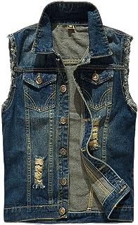 Mens Sleeveless Brushed Denim Vest Destoryed Holes Waistcoat Tops Blazer Casual Slim Fit Skinny Dress Cowboy Denim Vest Wa...