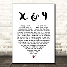X & Y White Heart Song Lyric Quote Music Print