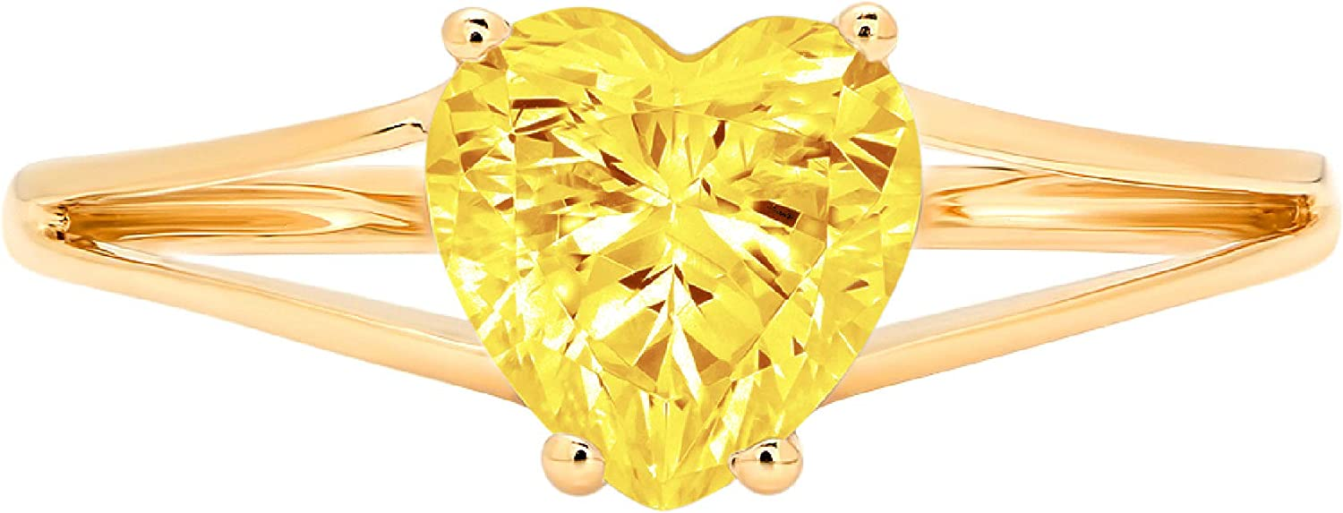 1.4ct Heart Cut Solitaire split shank Canary Yellow Simulated Diamond Cubic Zirconia Ideal VVS1 D 4-Prong Engagement Wedding Bridal Promise Anniversary Ring Solid 14k Yellow Gold for Women